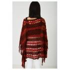 Red Crochet Knit Poncho