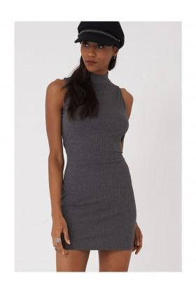 High Neck Bodycon Dress in Dark Grey