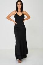Black Fishtail Hem Maxi Dress Bodycon Fit