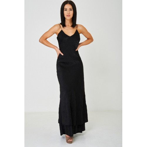 Black Fishtail Hem Maxi Dress Bodycon Fit