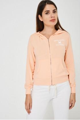Ladies Zip Hoodie in Peach