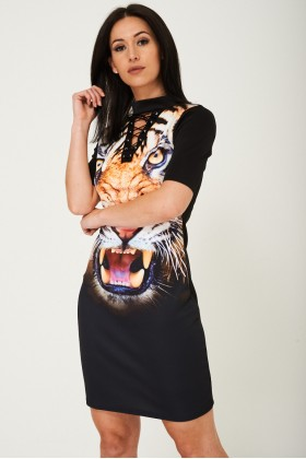 Tiger Print Dress with Choker Neck