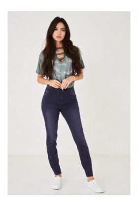Ladies Distressed Skinny Jeans in Navy