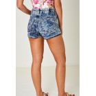 High Waist Washed Denim Blue Shorts