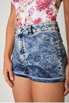 High Waist Washed Denim Blue Shorts