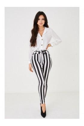 Ladies Stripe Trousers with Tie Waist