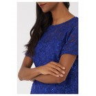 Lace Top with Embellished Blue Sequins