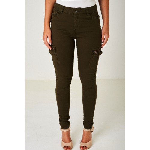 Khaki Green Jeans with Utility Styling Cargo