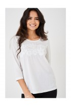Ladies Pretty Lace Front White Top