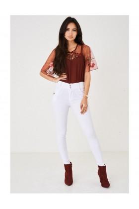 Ladies White Skinny Leg Trousers