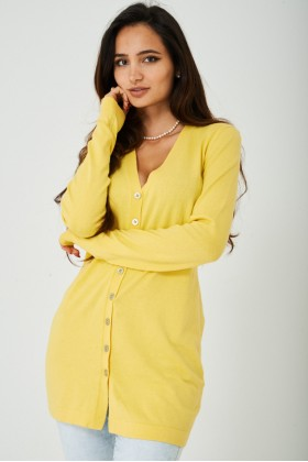 Button Down Cardigan in Yellow