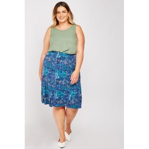 Arabesque Print Flared Skirt