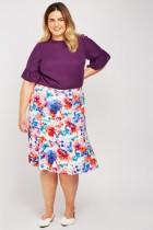 Watercolour Printed Flared Skirt