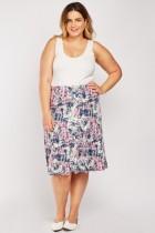 Graphic Print Flared Skirt