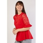 Lace Insert Sweetheart Top Red