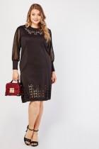 Laser Cut Black Shift Dress