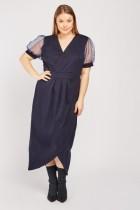 Organza Sleeve Midi Tulip Dress