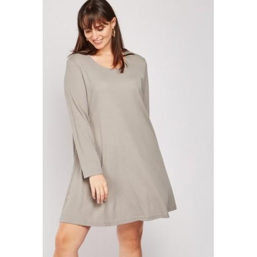 Scoop Neck Ribbed Dress