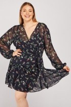 Sheer Chiffon Floral Tea Dress