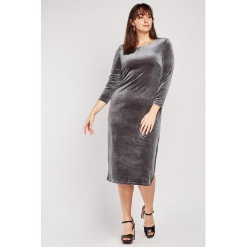Shimmery Velveteen Midi Dress