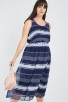 Striped Polka Dot Midi Dress