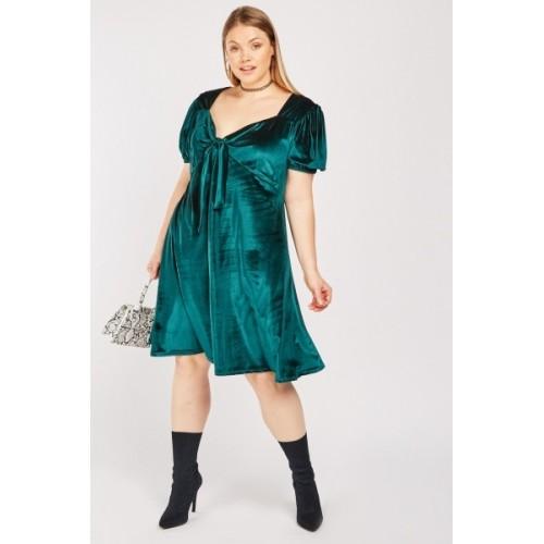 Tie Up Velveteen Tea Dress