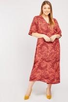 Vintage Print Midi Wrap Dress