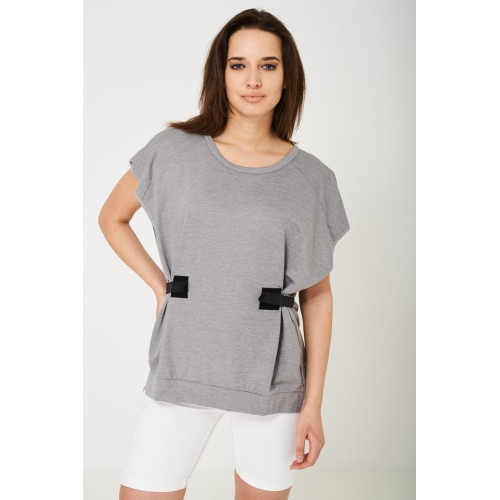 Oversized Top in Light Grey-One Size - UK (8-12)