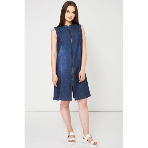 Blue Denim Dress With Zip