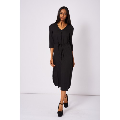 Black Button Front Long Dress