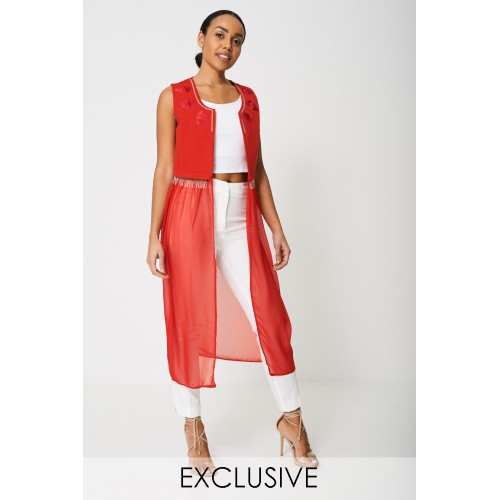 Exclusive Collection Chiffon Cardigan-Red