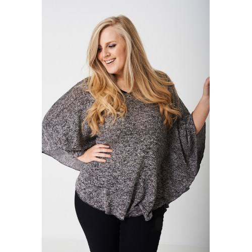 PLUS Knitted Kimono in Mixed Yarn