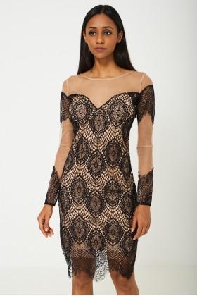BIK BOK Mesh Dress in Black Lace