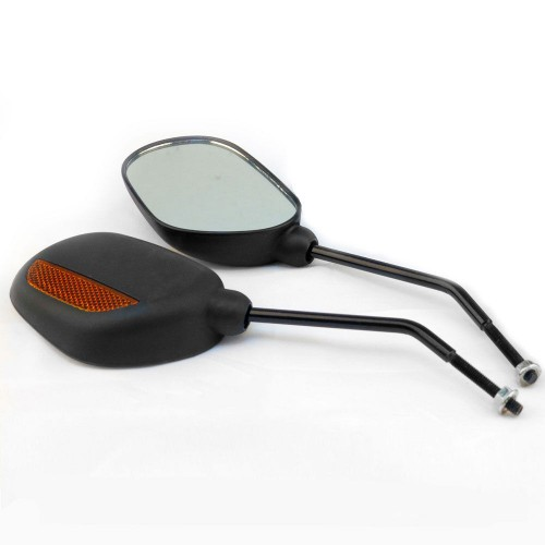 Pair of Oval Bicycle Bike Mirrors with Reflectors/For Mountain Bike and Mobility Scooter Handlebars
