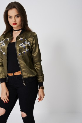Light Bomber With Embroidered Birds-Khaki