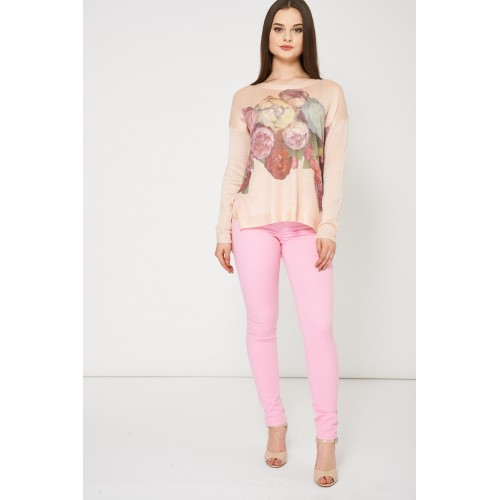Blush Knitted Top With Floral Print