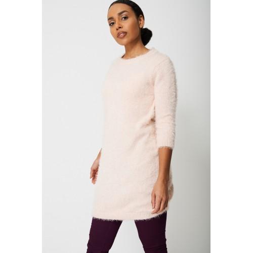 Fluffy Jumper Dress in Sweet Pink