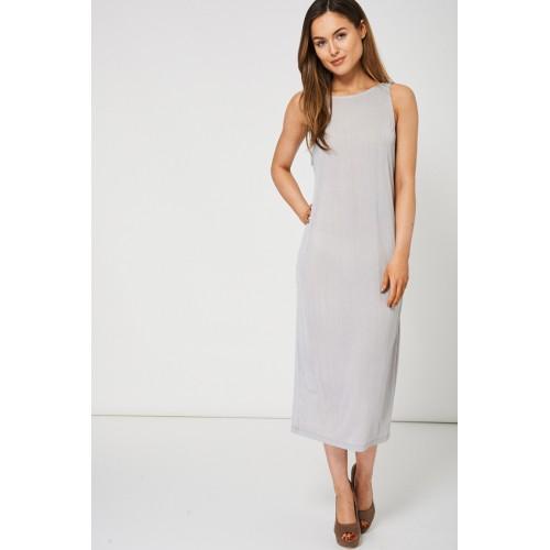 Grey Shimmer Pleat Dress