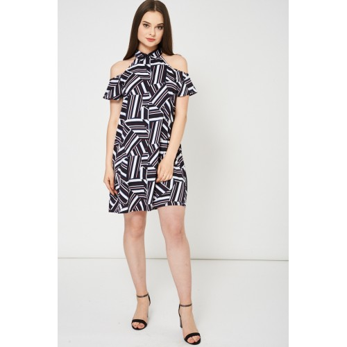 Abstract Pattern Cold Shoulder Swing Dress