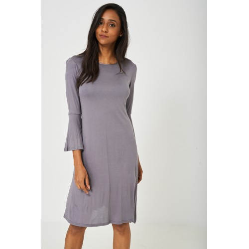 Bell Sleeve Dress in Grey