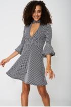 Bell Sleeve Skater Dress In Polka Dot