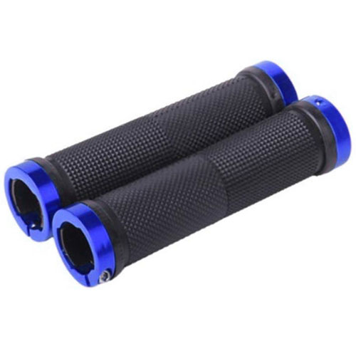 Bicycle Double Locking Handle Bar Grips - Blue