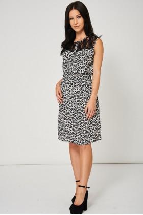 Leopard Pattern Dress With Black Lace Detail