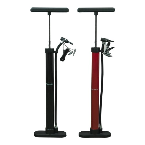 High Pressure Floor Standing Bike Pump - Red