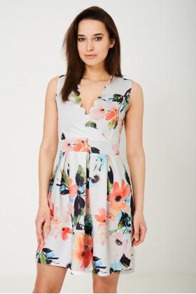 Sleeveless Skater Dress in Floral Print
