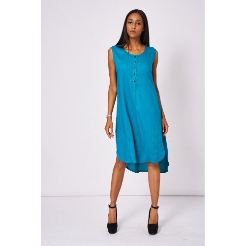 Buttons Front Teal Dress With Side Pockets