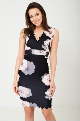 Bodycon Dress in Floral Print-Navy
