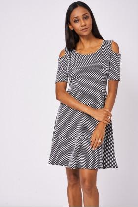 Polka Dot Cold Shoulder Skater Dress