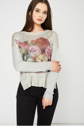 Grey Knitted Top With Floral Print
