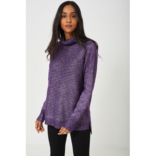 Knitted Metallic Yarn Jumper in Purple